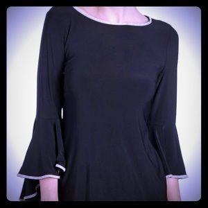 Alfani Beautiful Long Black Bell Sleeve Top